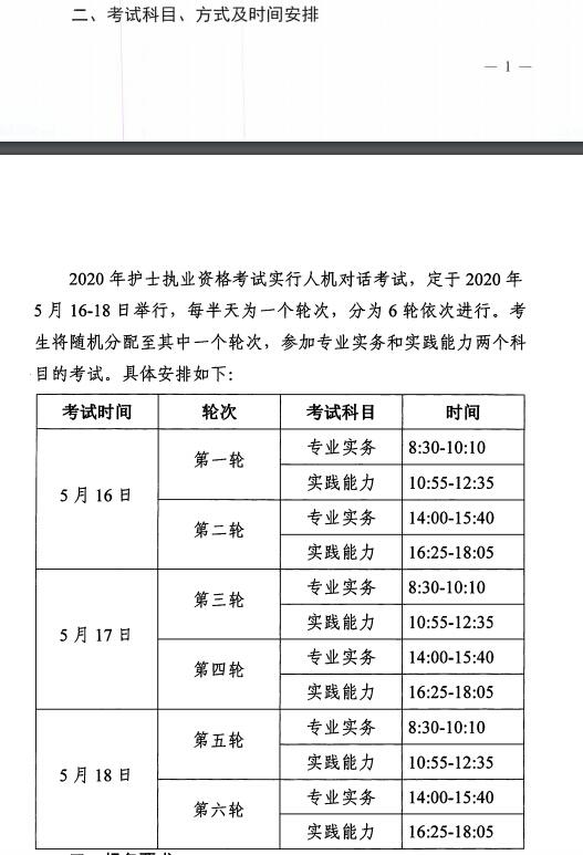 海南省2020年护士执业资格考试时间及具体安排