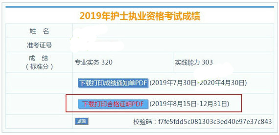 河南2019年护士资格考试合格证明打印12月31日截止