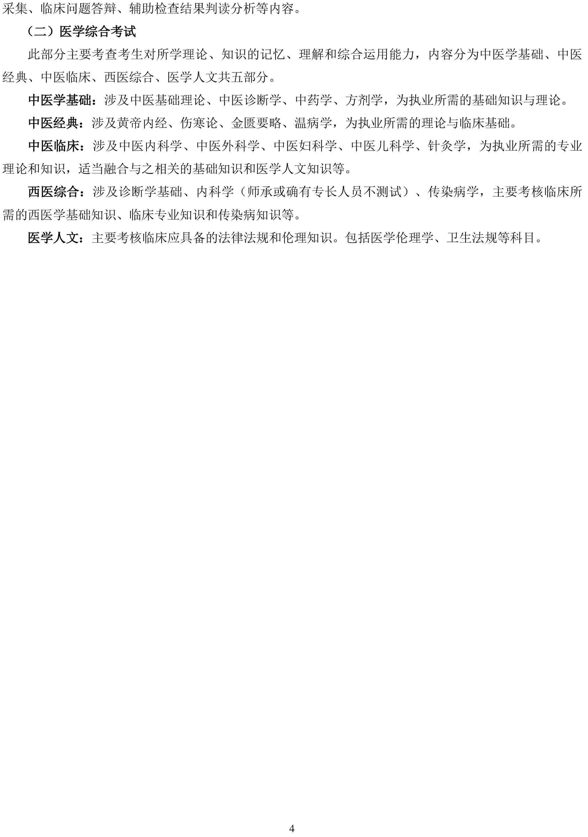 中医执业医师资格考试大纲(2020年版).