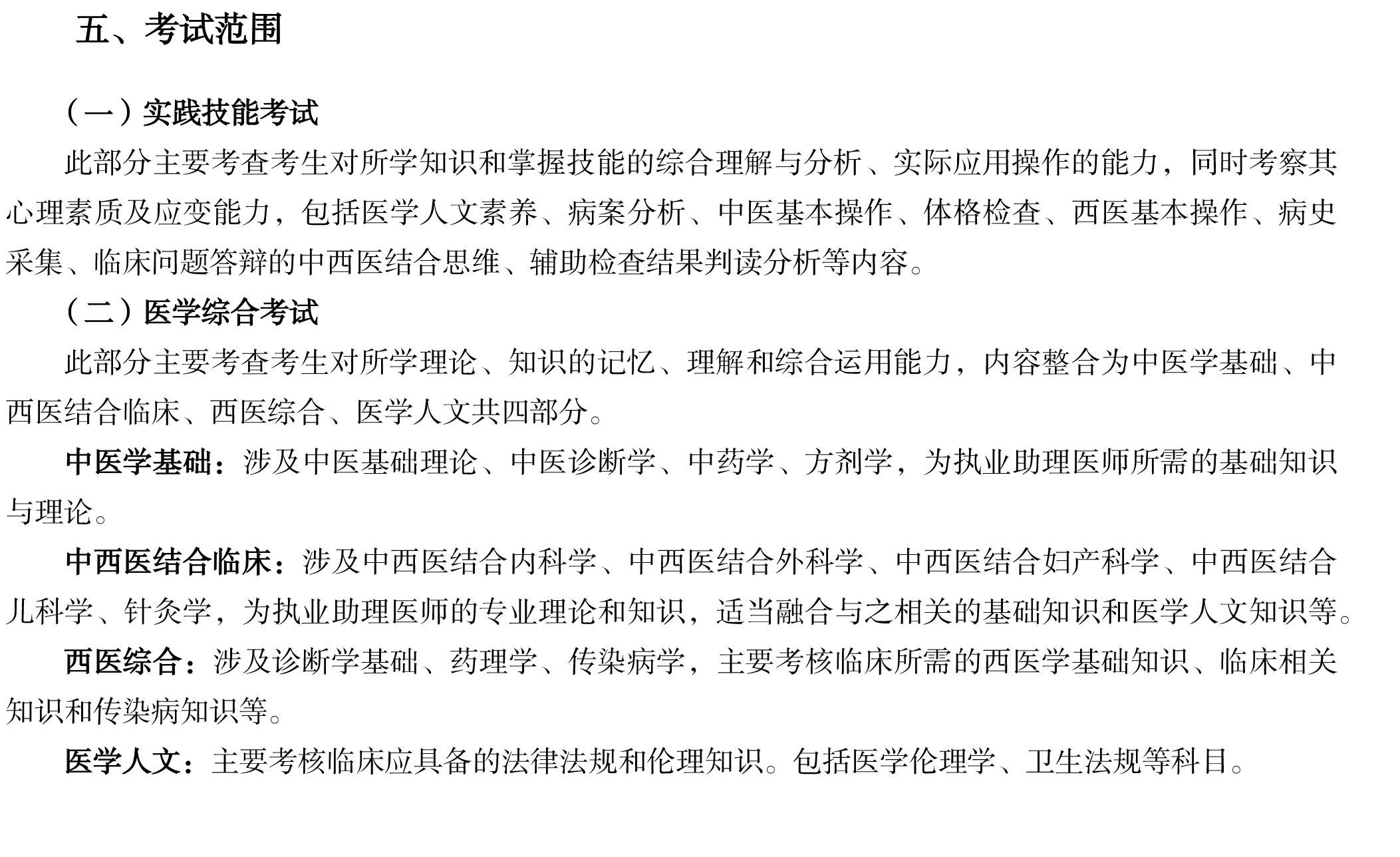 中西医结合执业助理医师资格考试大纲(2020年版)