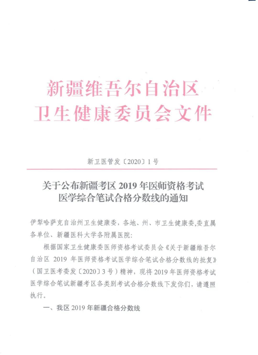 2019医师资格考试合格分数线(实践技能+综合笔试)
