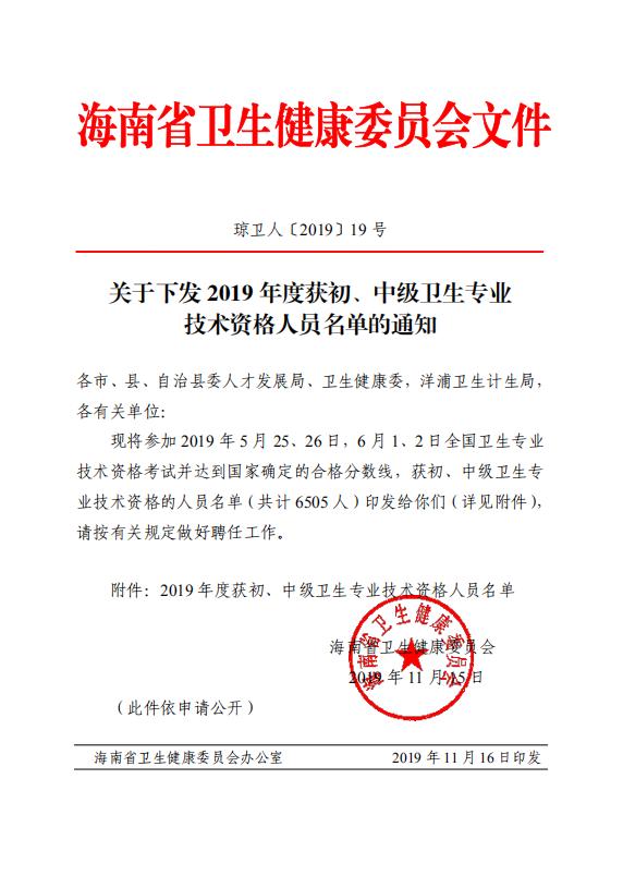 三亚市2019年度卫生专业技术资格人员名单公布