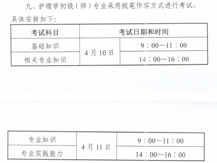2021年初级护师考试时间确定为2021年4月10、11日