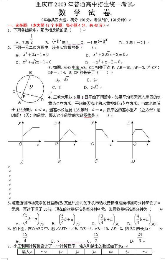 重庆市2003年中考《数学》考试试题及答案