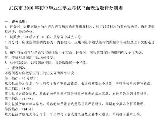 2010年湖北武汉市中考英语模拟试题及答案第