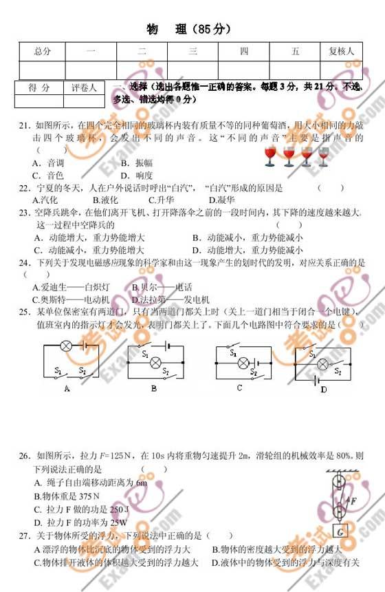 2010年甘肃省兰州市中考物理试题及答案
