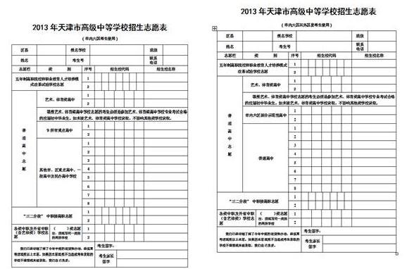 天津中考志愿填报指导