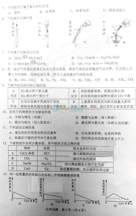 2018年广东潮州中考化学真题已公布