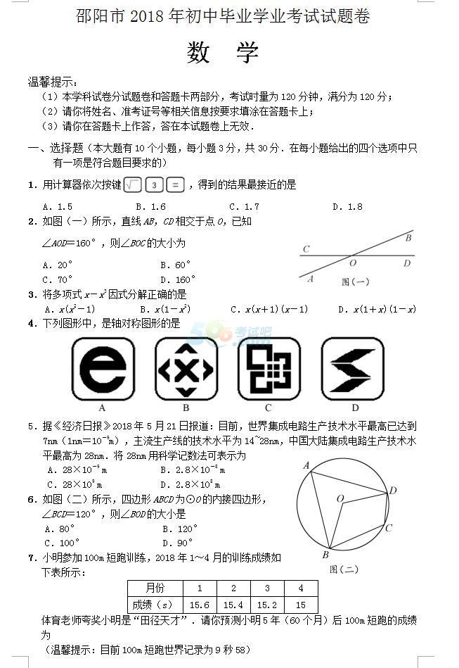 2018年湖南邵阳中考数学真题及答案已公布