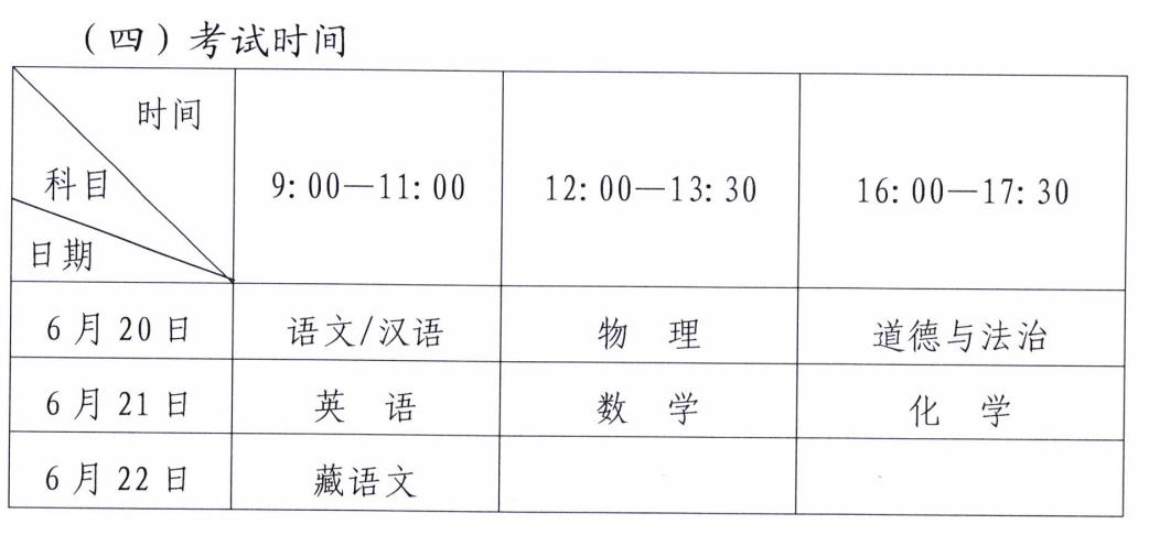 西藏2019年中考时间:6月20日至6月22日