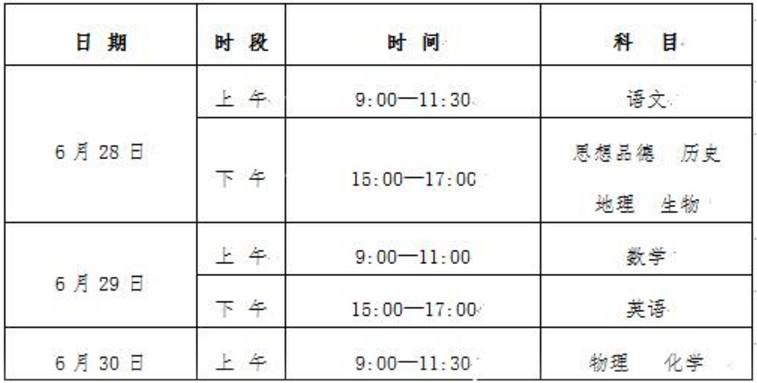宁夏2019年中考时间:6月28日至6月30日