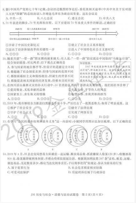 2019年浙江金华中考历史真题及答案已公布