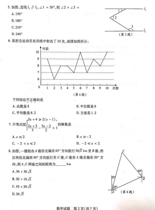 2019年山东泰安中考数学真题已公布
