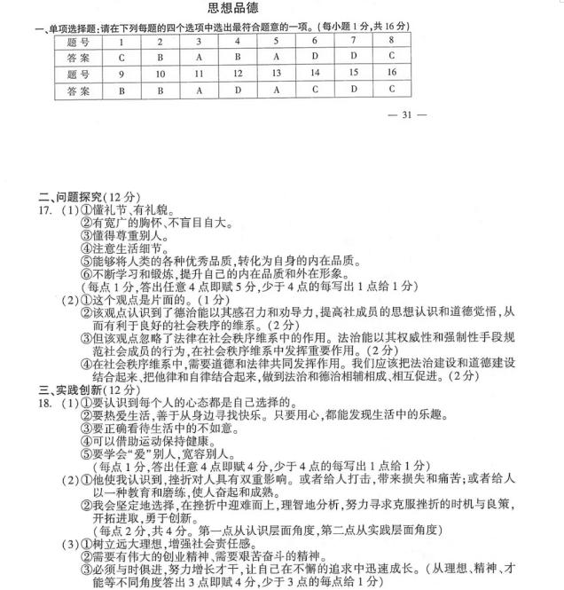 2018年江苏连云港中考思想品德真题及答案已公布