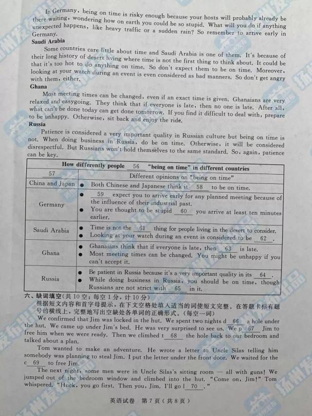 2019年江苏扬州中考英语真题已公布