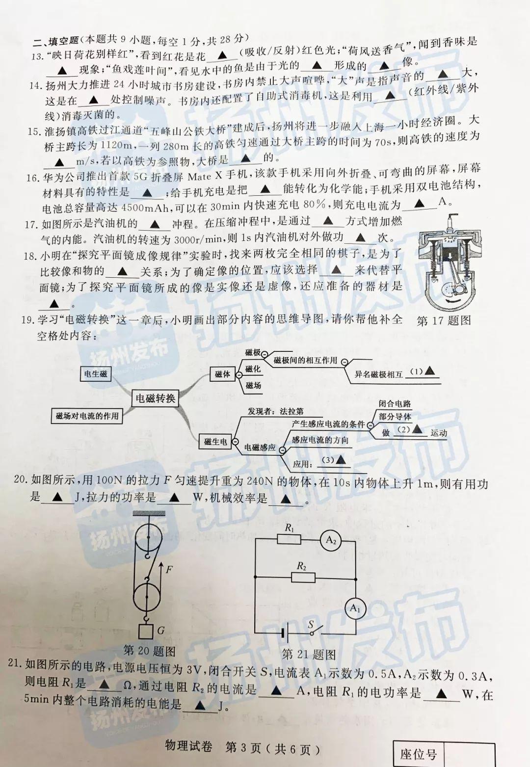 2019年江苏扬州中考物理真题已公布