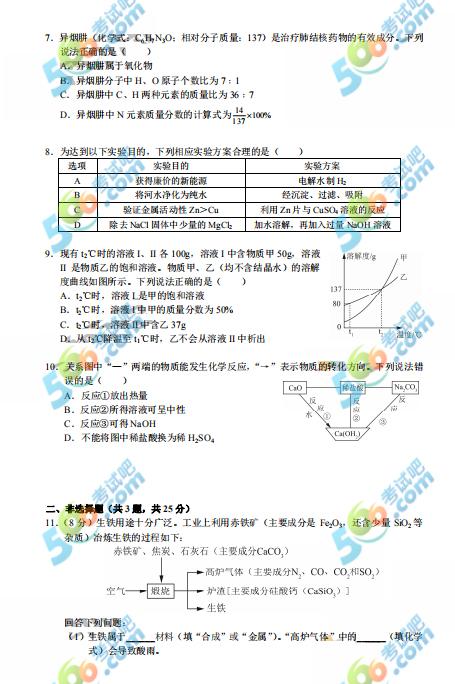 2019年深圳中考《化学》真题及答案已公布