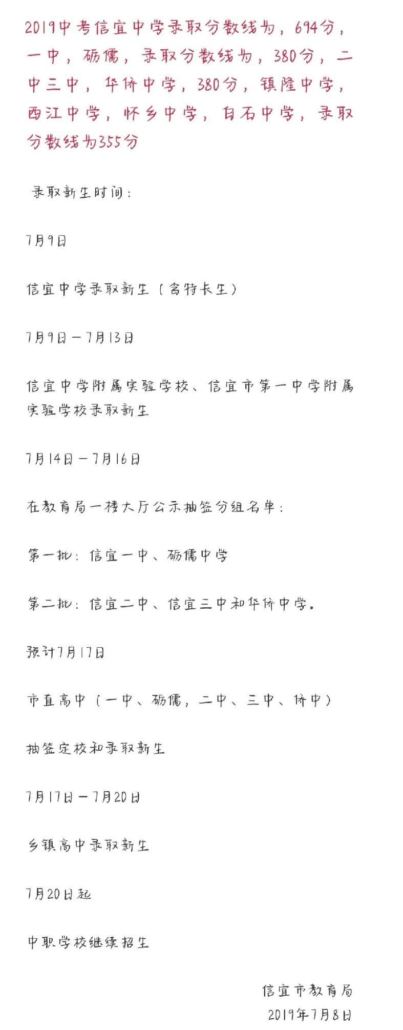 2019年广东茂名信宜市中考高中学校录取分数线