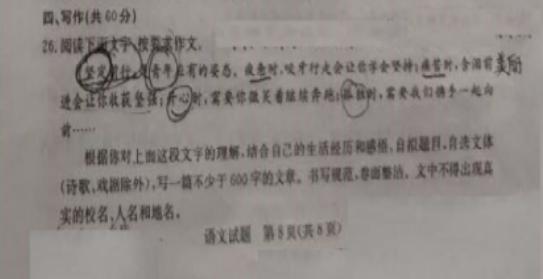 2019年山东滨州中考作文:材料作文