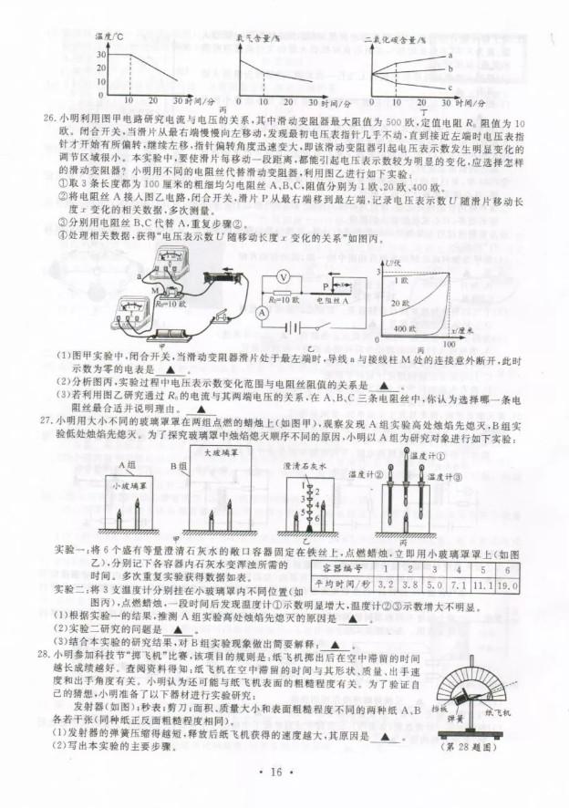 2019年浙江温州中考《物理》真题及答案已公布