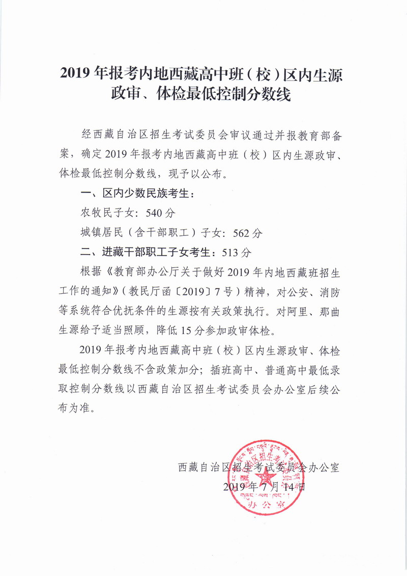 2019年西藏中考录取分数线已公布