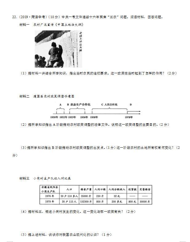 2019年山东菏泽中考《思品》真题已公布