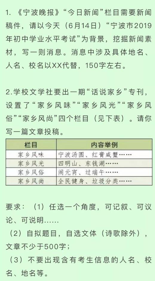 2019年浙江宁波中考作文题目已公布