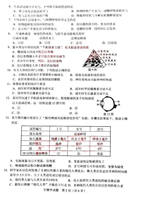 2020年广东中考《生物》真题及答案已公布