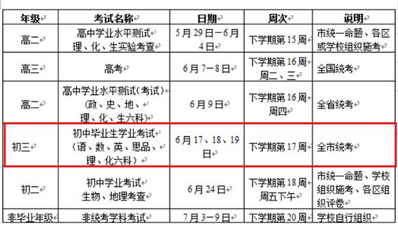 广州2016年中考时间
