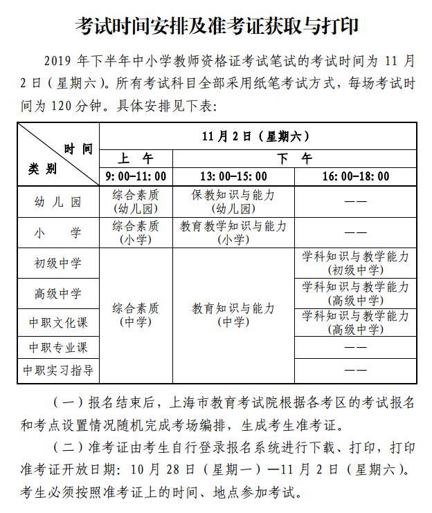 上海2019下半年中小学教师资格考试时间为11月2日